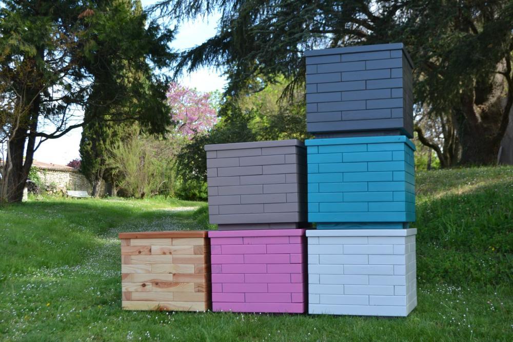 Garden color bacs fleurs bois jardini res bois - Bac en bois pour terrasse ...